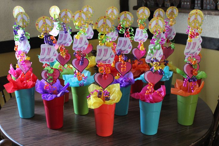 Roller skating party favor cups filled with candy!