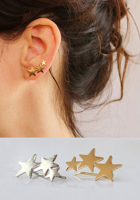 Star ear cuff , Gold earpin , Ear Climber , 3 Stars , 18K gold plated , Rhodium plated , - NICKEL FREE , The back hammered. @sigalitajd