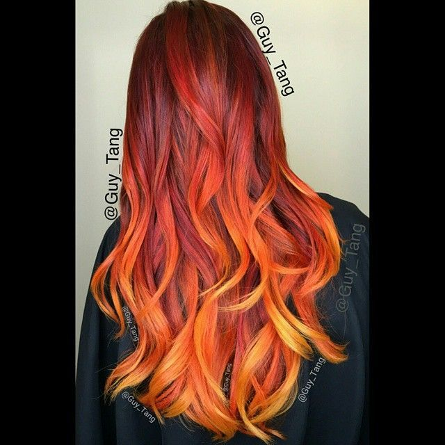 Red At The Roots Of Your Hair And Fade It Into An Orangey Gold Color Ends This Is Also A Great Way To Rock Right Autumn Fire