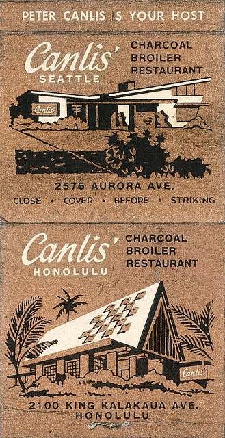 Canlis' I've been to and love Seattle but would have loved to go back in the day to Honolulu Canlis.