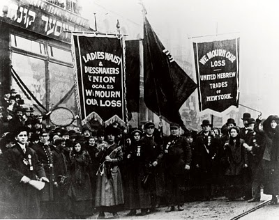 Demonstration of protest and mourning for Triangle Shirtwaist Factory fire of March 25, 1911.  Photo taken by an unknown photographer, New York City, New York, April 5, 1911.