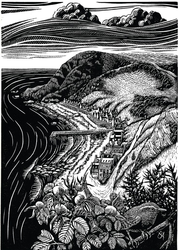 "Bryan Angus (Scottish Artist) Lino Prints: ""Crovie Autumn"". bryanangusart.com"