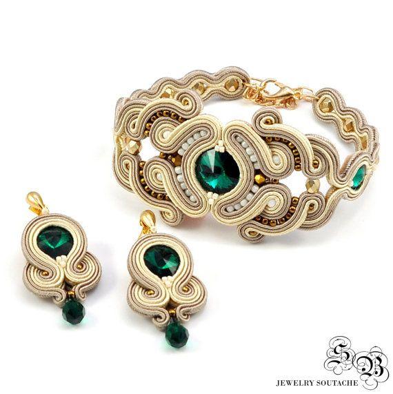 Set bracciale e orecchini, set di Soutache, elegante set set per Glamour, fascino di Soutache, bracciale di Soutache, Orecchini Soutache, Swarovski Orecchini