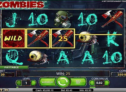 Игровой автомат Zombies на реальные деньги  Игровой онлайн аппарат Zombies посвящён зомби-апокалипсису. В этом автомате вы будете играть на 5 барабанах и 20 линиях. Специальные знаки и фриспины помогут вам регулярно получать реальные деньги.