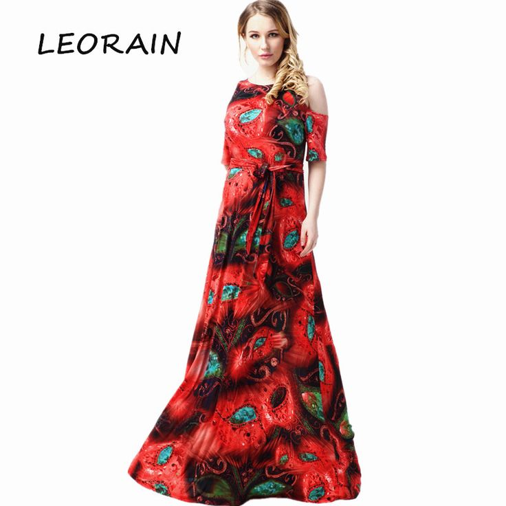 Plus Size Women 2017 Summer New Red Print Sexy Off Shoulder O-neck Long Maxi Vintage Floral Dress Vestido Ropa Mujer 6xl LEORAIN