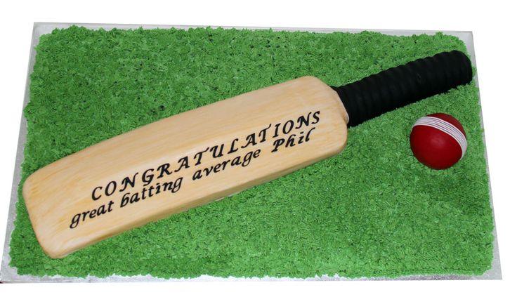 Cricket Bat & Ball Cake Like us on www.facebook.com/melianndesigns
