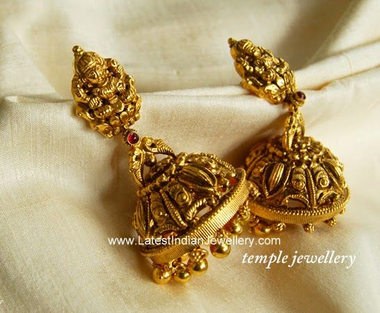 Nakshi Work Heavy Jhumka Earrings