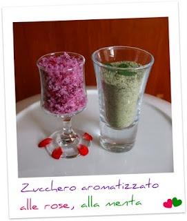 Zucchero aromatizzato alla menta, alle rose