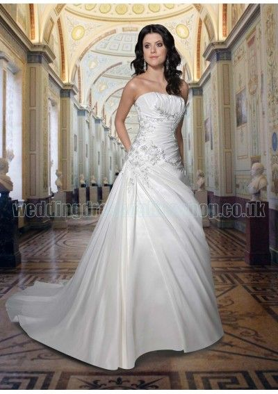 Beautiful Wedding dress online shop Satin Strapless Straight Neckline Rouched Bodice with Embroidery A Line