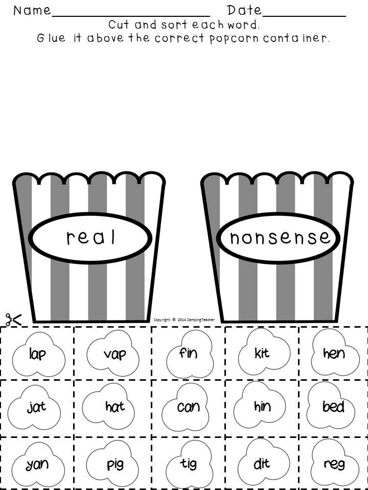 Real and nonsense words-popcorn theme!