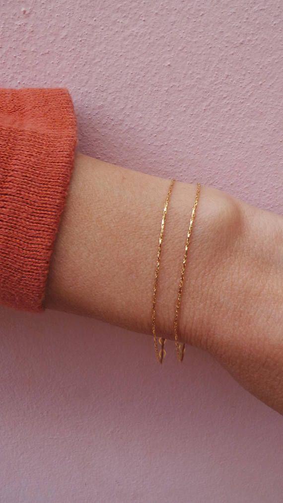 Gold chain bracelet Gold filled bracelet. Minimalist bracelet Beaded chain bracelet Dainty chain bracelet Gold fill chain bracelet