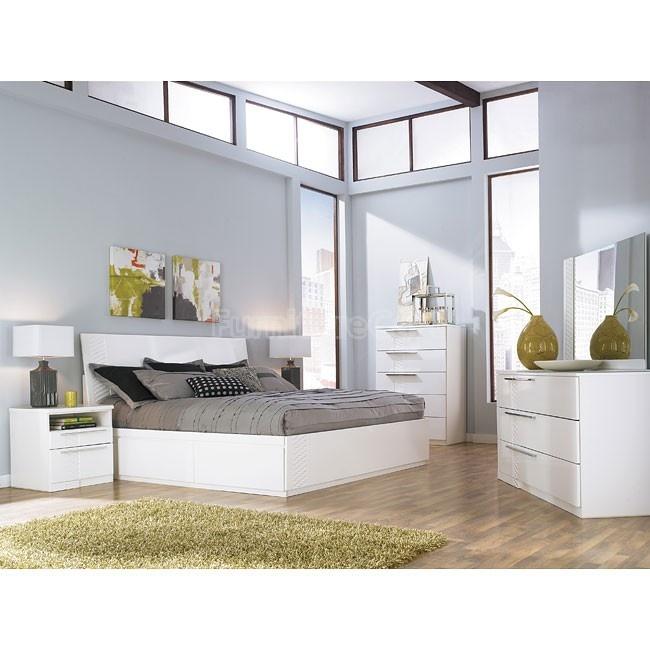 Jansey Metro Modern White King Bed With Side Storage Unit By Ashley  Millennium   Regency Furniture