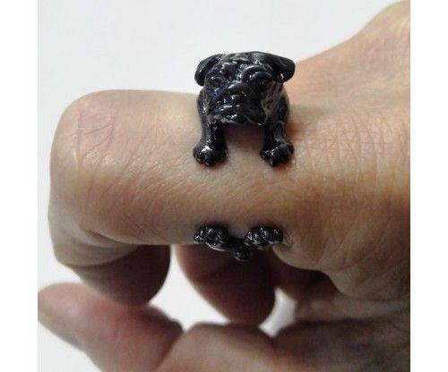 Kutyás gyűrű - állítható méretű - fekete színben - vicces kutya, mopsz az ujjakon!