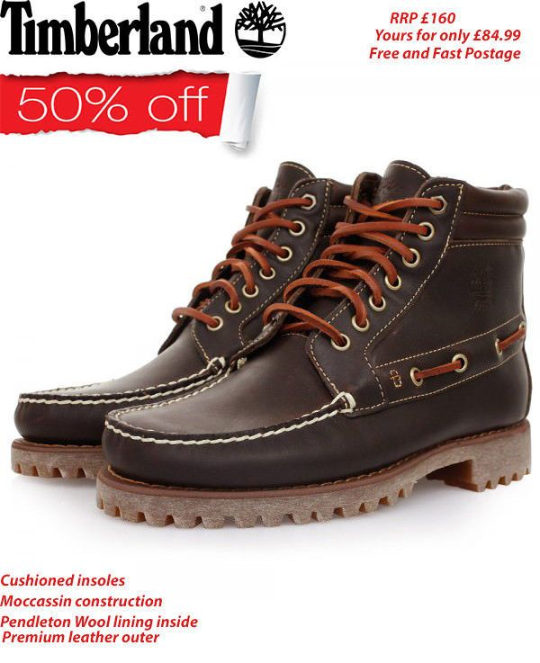 35b58e047168 Timberland Men Pendleton Brown Leather Shoes 7 Eye Chukka Boots A13F1 S-7  to 11  Timberland  ChukkaBoots  Casual