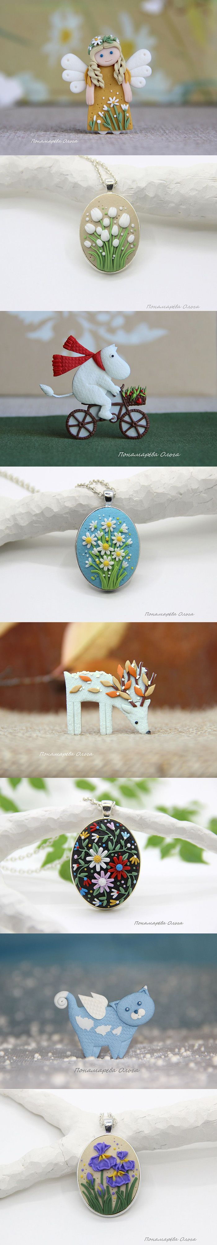 Pretty polymer clay jewelry pieces by Olga Ponamaryova