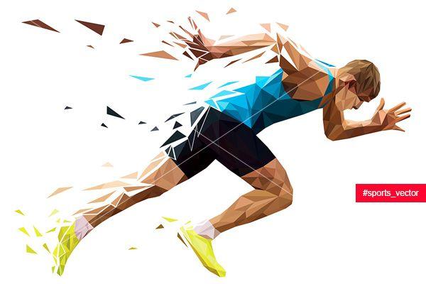 Runner Sprinter Explosive Start In Running Polygonal Particles Sprinter Beauty Illustration Minimal Wallpaper