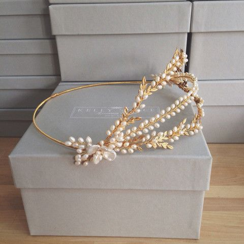 Kelly Spence Amandine Halo. Gold, vintage wax flower inspired bridal halo with freshwater pearls and gold leaves.