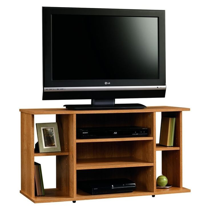 Tv Stand For Flat Screens Wood Premium Low Entertainment Center Oak For Up To 42 Inch. SIMPLE COMPACT AND STYLISH DESIGN WITH A BEAUTIFUL HIGHLAND OAK FINISH. AMPLE STORAGE SPACE. Furnished with 2 adjustable center shelves and .2 small adjustable side shelves. ACCOMMODATES FLAT PANEL TV UP TO 42 INCHES. PRODUCT DIMENSIONS:39.2 x 15.5 x 21.3 inches; 48 lbs.