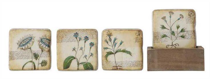 Botanical Coaster Set with Box Holder  #garden #farmhouse #storage #rustic #loft #industrial #rusticindustrial #ineedthis #glorygracehome https://glory-grace.myshopify.com