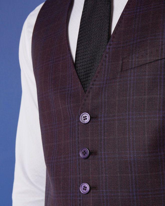 HIKICKW: Checked wool waistcoat (Red)