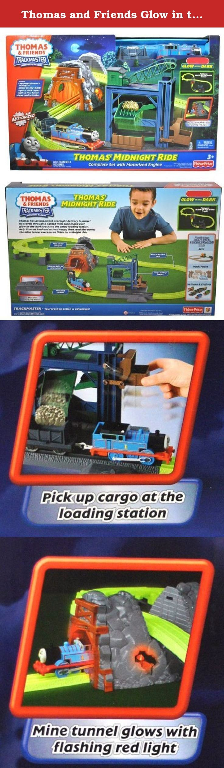 Thomas and Friends Glow in the Dark Series Trackmaster Motorized Railway Battery Powered Tank Engine Playset - THOMAS' MIDNIGHT RIDE with Thomas Engine and Mining Car, Glow-in-the Dark Figure 8 Track Layout, Light Up Mine Tunnel and Cargo Loading Station. Thomas has an important overnight delivery to make! He travels through a lighted mine tunnel and over glow-in-the-dark tracks to the cargo loading station. Help Thomas load and unload cargo, then send him across the mine tunnel overpass…