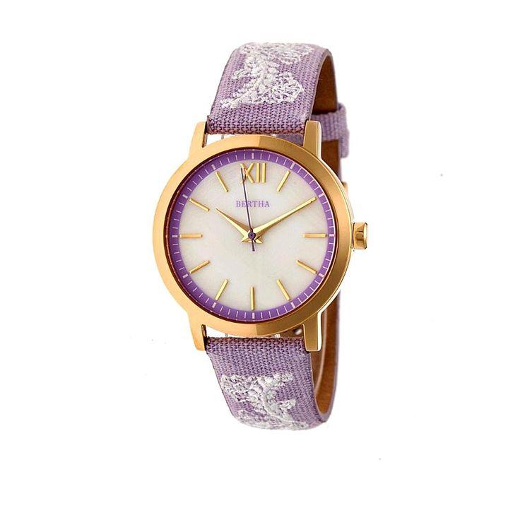 "Bertha Watches ""Penelope"" Lace Design Leather Strap Watch - Purple"