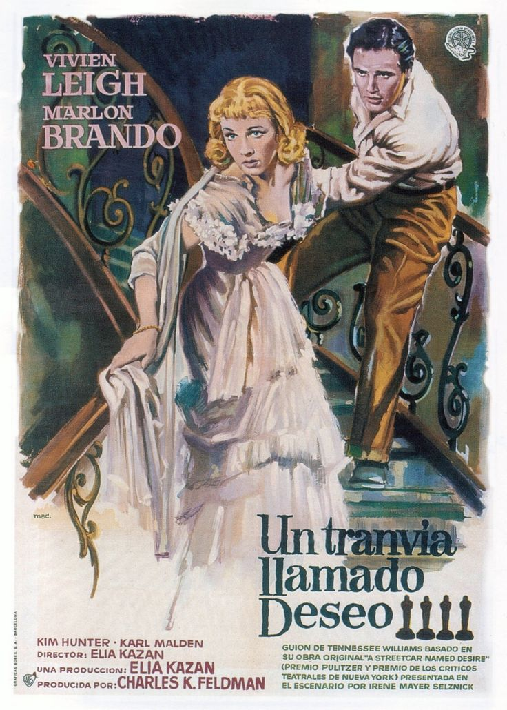 """Трамвай """"Желание"""" — художественный драматический фильм 1951 года, снятый режиссёром Элиа Казаном по одноимённой пьесе драматурга Теннесси Уильямса. Главные роли исполняют Вивьен Ли и Марлон Брандо."""