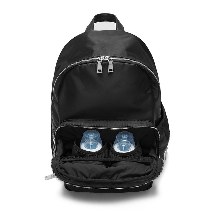 Fact + Fiction Lea Backpack, £125 (also available with gold zips) The ultimate stylish, functional baby bag, feat. two upright, insulated bottle holders.