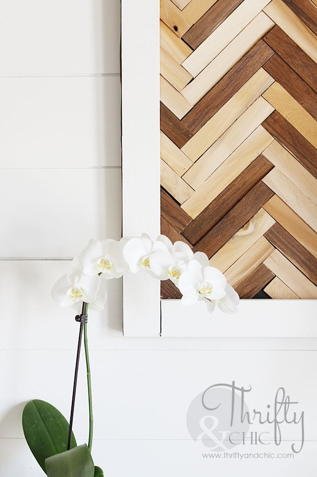 Herringbone Pattern Wall Art Using Wood Shims :: Hometalk