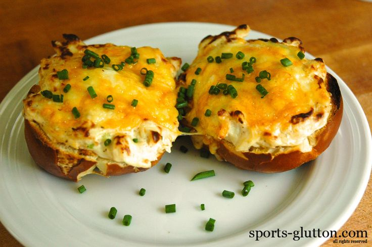 Baltimore Ravens Pretzel Crab Dip Recipe 10 from sports-glutton.com.  I like that they use pretzel rolls, which are widely available.  Yummmmm.