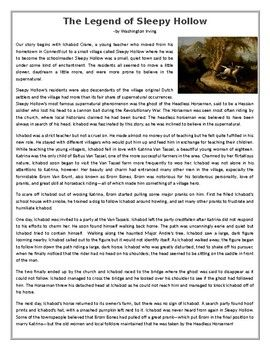 "This Reading Comprehension worksheet is suitable for higher elementary to proficient ESL learners or native English speakers. The text is a summary/ short story based on Ivring's short story ""The Legend of Sleepy Hollow"" also know as the story of the headless horseman."