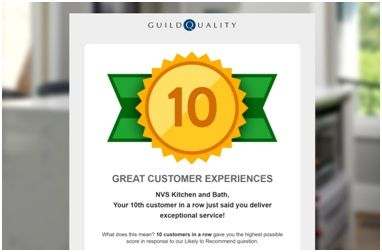 NVS Kitchen and Bath Awarded 10 Great Customer Experiences on Guild Quality