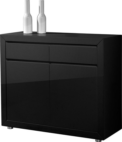 Fino Retro High Gloss Black Sideboard With 2 Doors,2 ...