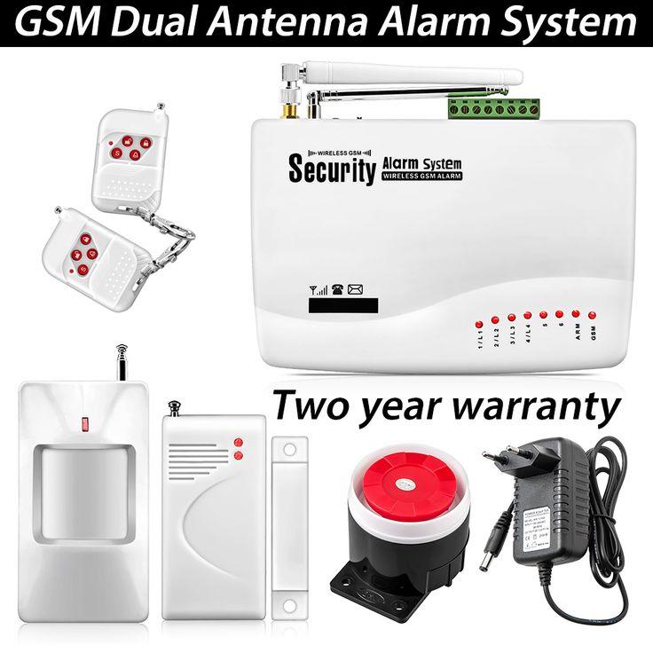 Seguridad en el Hogar Sistemas de Alarma inalámbrica GSM Intruder Antirrobo Antena Dual de Señal Inalámbrica PIR/Sensor de La Puerta Manual Ruso voz