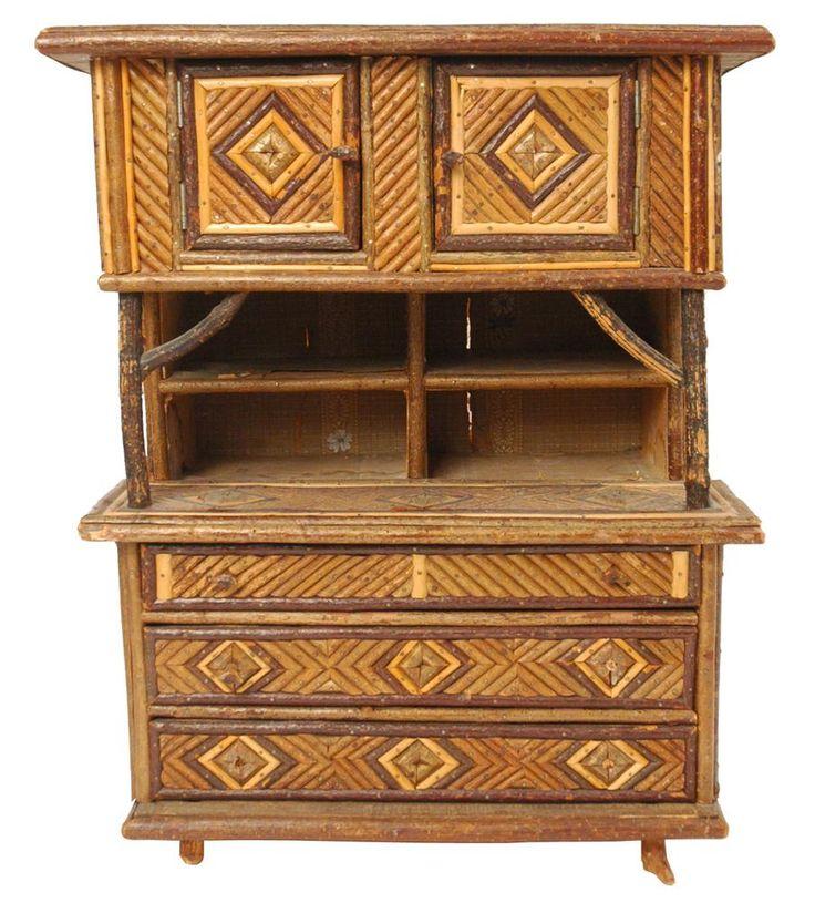 Adirondack twig furniture antique german folk art - Adirondack style bedroom furniture ...