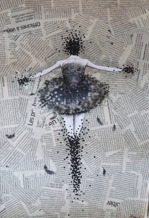 Ballet Painted On Canvas Collaged With Newspaper Strips