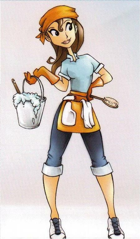 Cartoon Cleaning Lady Photo Ocean Cleaning Services