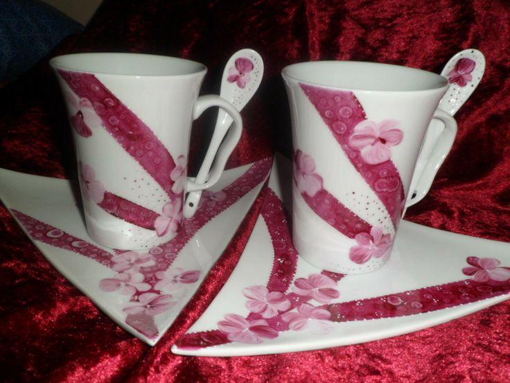 tasses et sous-tasses motif pensées pourpres défi de mai : Vaisselle, verres par zigouigoui-nancy
