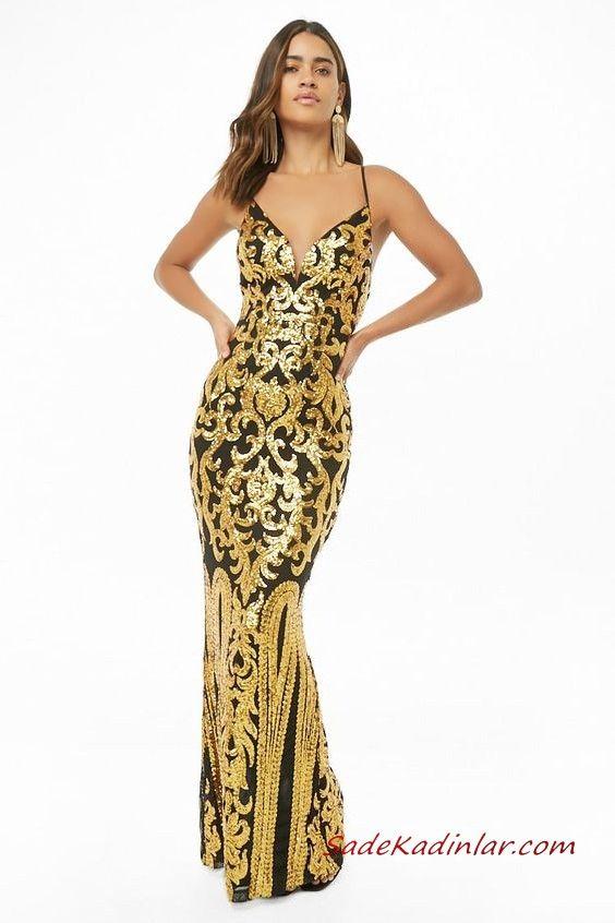 2090a66553837 Uzun Gece Elbiseleri Siyah Uzun İp Askılı V Yakalı Gold İşlemeli #moda  #fashion #fashionblogger #eveningdresses #eveninggowns #promdresses  #promdresses2019 ...