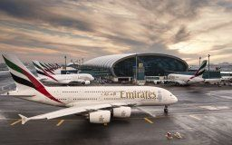 emirates airline airbus a380 airliner plane passenger airport dubai united arab emirates building terminal sunrise sky clouds airliner airplane passenger airport dubai uae building terminal sunrise sk