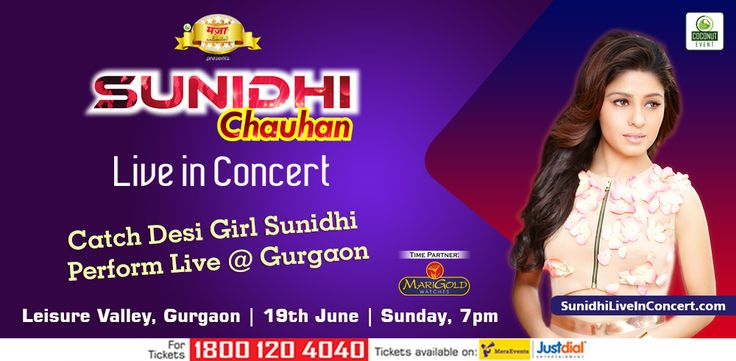 Start making your playlist!   Sunidhi Chauhan is going to be on stage at leisure valley, Gurgaon. An amazing way to spend your Sunday   #LiveInConcert #SunidhiInGurgaon #CoconutEvent