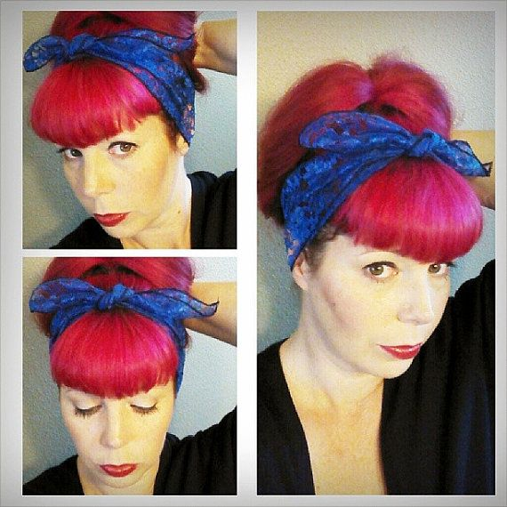 Royal Blue Lace WIDE Headwrap Bandana Hair Bow Tie 1950s Vintage Style - Rockabilly - Pin Up - For Women, Teens