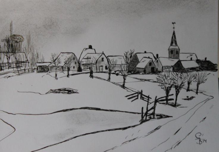 winterlandschap  dorpje  oostindische inkt