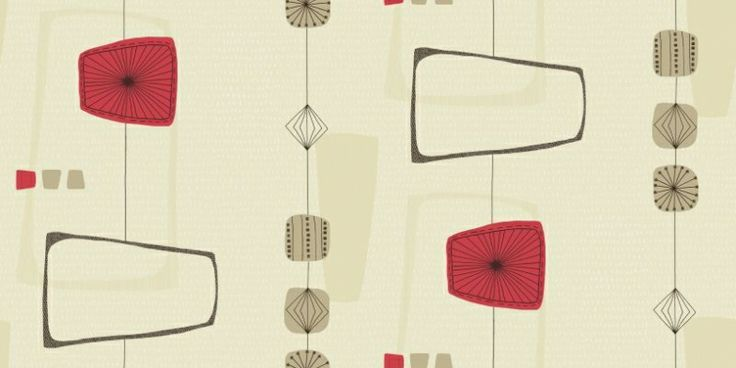 Marcelo (97284) - Holden Decor Wallpapers - A trendy 50's influenced geo on a cream textured ground with choc, red and gold. More colours are available. Please request a sample for true colour match. Paste-the-wall product.