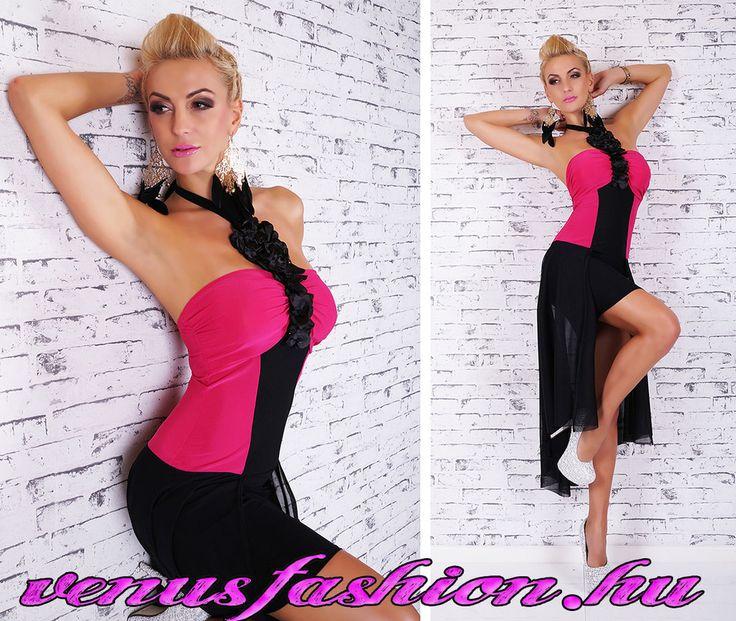 Pink fekete elegáns nyakbakötős női ruha party ruha alkalmi miniruha - Venus fashion női ruha webáruház