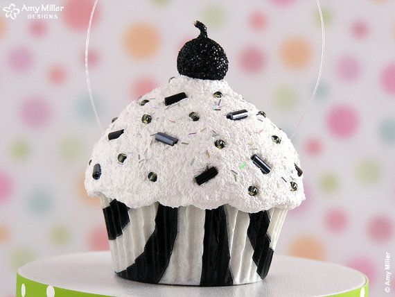 Fake Zebra Print Cupcake Decoration / Ornament  mini size Black - great for a birthday gift - #CUP199