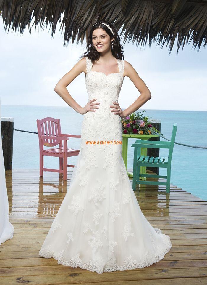 Små vita klänningar Spets Chic & Modern Billiga Bröllopsklänningar