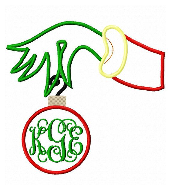 Instant download grinchy hand holding ornament by