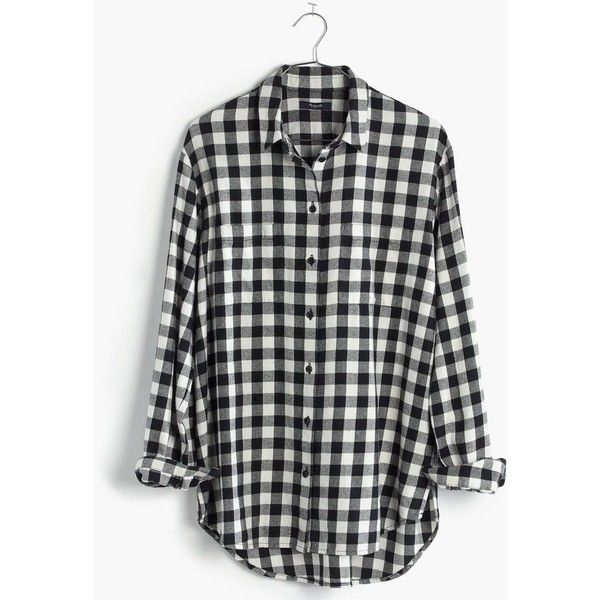 MADEWELL Flannel Oversized Boyshirt in Buffalo Check (1,550 MXN) ❤ liked on Polyvore featuring tops, shirts, flannel, true black, flannel button-down shirts, buffalo plaid flannel shirt, oversized tops, slit shirt and button up shirts