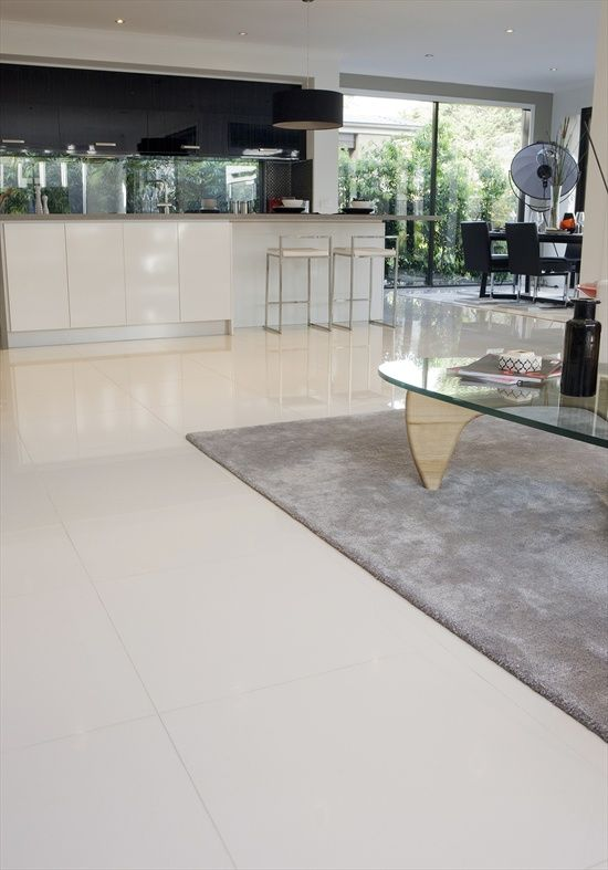 Beaumont white kitchen floor tiles Match with light grey walls